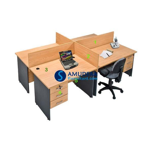 Partisi Kantor 4 Staff Global Executive Workstation 1, Partisi Kantor Murah